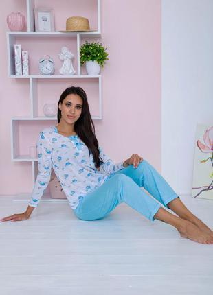 Пижама женская цвет бело-голубой 129r7885 67306