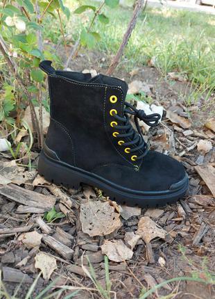 Демисезонные ботинки 🌿 на флисе платформа весна деми тракторная подошва