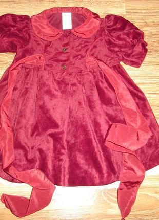 Нарядное велюровое платье на 6-9 мес adams