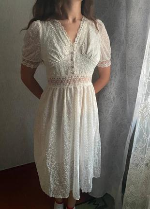 Женское длинное кружевное платье с вышивкой, элегантное прозрачное сетчастое платье с короткими рукавами и кружевом