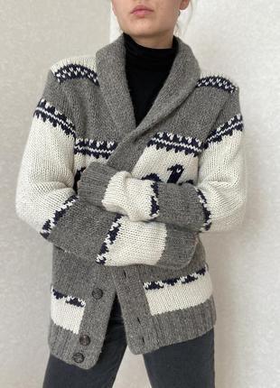 Тёплый кардиган , шерстяной свитер на пуговицах, винтажный кардиган