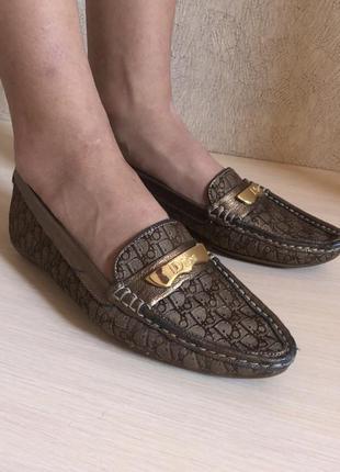 Лоферы лодочки кожаные мокасины монограммные с острым носком винтаж dior оригинал