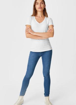 Белая базовая хлопковая футболка высокое качество - био хлопок! новая с биркой c&a / большой размер