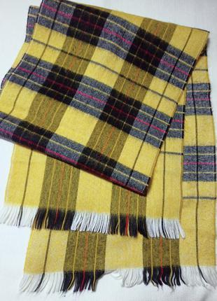 Женский шарф . шарф в желто-черную клетку.
