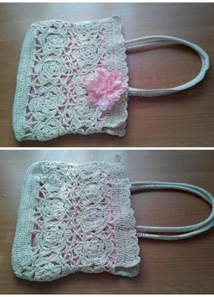 Плетеная ажурная сумка из соломки
