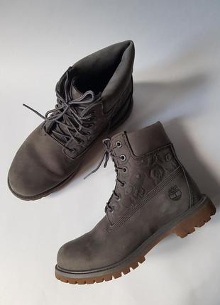 Крутые ботинки timberland оригинал,кожаные зимние ботинки,серые женские ботинки нубук