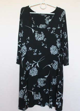 Чёрная с белый трикотажная натуральная туника, туніка, платье, платьице, сукня 54-56 р.