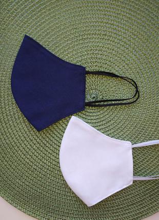 Темно-синяя однотонная маска хлопок