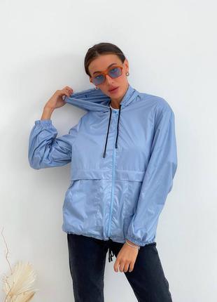 Ветровка голубая с капюшоном и карманами/плащевка/вітровка🍃