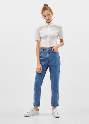 Качественые синие котоновые джинсы момы mom's jeans. джинсы boyfriend 34