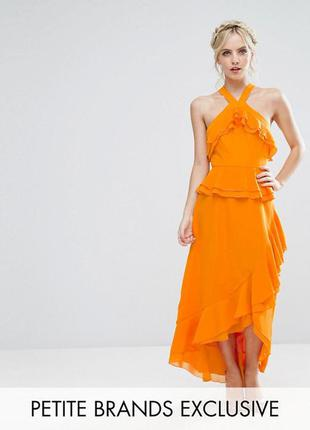 Оранжевый сарафан с оборками asos,р-р  12