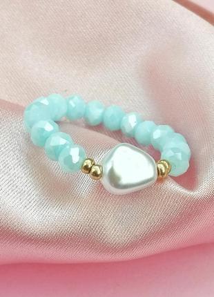 Кольцо из бисера и жемчуга, каблучка з бісеру та перлів
