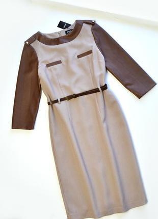 Стильное платье с рукавами под кожу деловое ,кожаные рукава