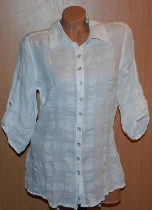 Блуза белая бренда peruna / 50% хлопок 50%лен/