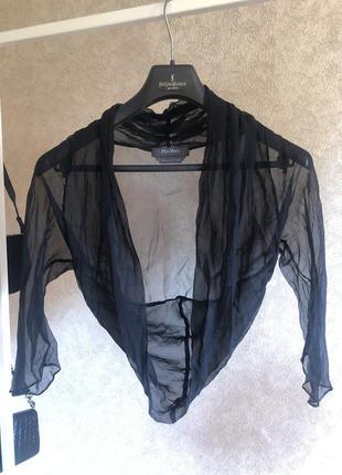 Шифоновая шелковая вечерняя нарядная накидка болеро под винтаж max mara оригинал