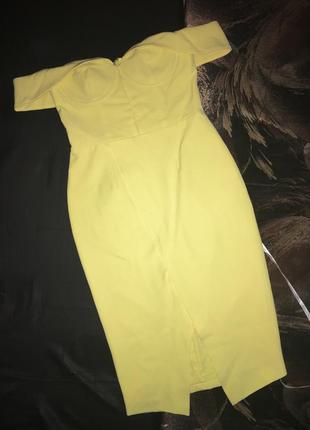Желтое платье с открытыми плечами лимонное с разрезом сиди вечернее коктейльное