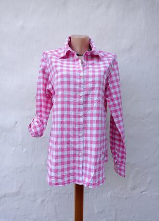 Классная легкая розовая рубашка в клетку marie lund.
