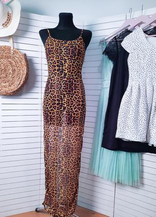 Новое платье сеточка пляжное платье plt леопард