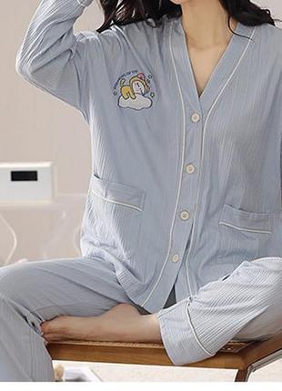 Нежно голубая пижама, высококачественный хлопок zara