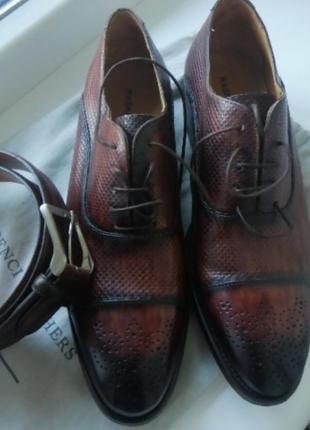 Фірмові чоловічі туфлі+ремінь.