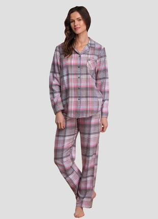 Женский домашний фланелевый разноцветный костюм из хлопка рубашка и штаны key lns 423 b21