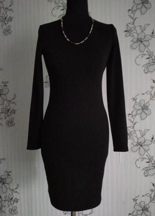 Новое чёрное трикотажное платье по фигуре, есть разные размеры