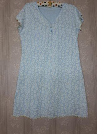 Идеальная голубая синяя белая хлопковая ночнушка сорочка для сна нічна сорочка на короткий рукав в ромашки цветочки цветочный принт большого размера
