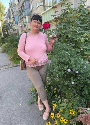 Кофточка длинный рукав розовая батал 100%хлопок кружево турция