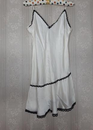 Идеальная белая молочная чёрная чорна шёлковая атласная ночнушка сорочка еа тонких бретелях майка винтажная сексуальная