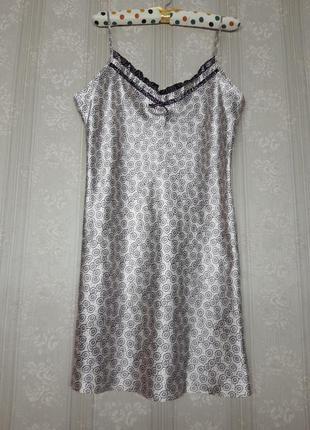 Идеальная шёлковая атласная кружевная белая фиолетовая ночнушка сорочка для сна на тонких бретелях большого размера винтажная в принт с рисунком