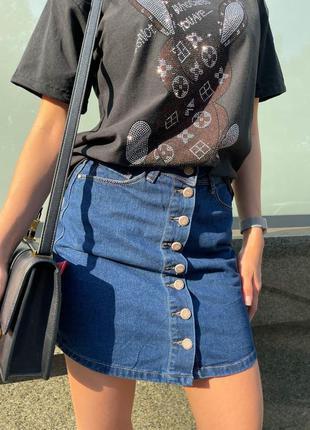 🔥 джинсовая темно синяя юбка короткая на пуговицах ретро
