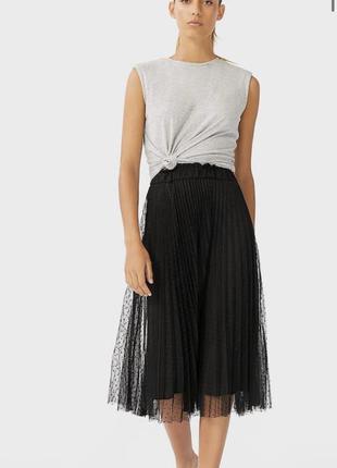 Черная юбка миди из фатина новая stradivarius