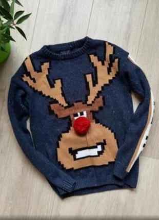 Новогодний свитер с оленем на мальчика next