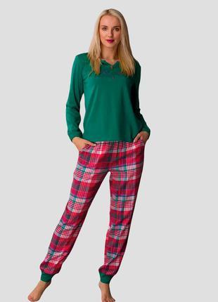 Женский хлопковый домашний разноцветный комплект кофта и штаны key lns 436 b21