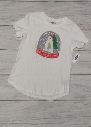 Мягенькая футболка old navy с праздничным принтом