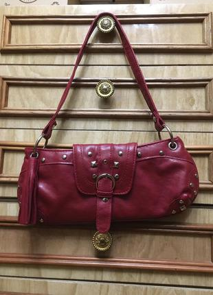 Сумка сумочка маленькая клатч из эко искусственной заменителя кожи красная с короткой ручкой ремешком в стиле винтаж ретро винтажная