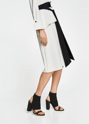 Черные дизайнерские босоножки толстый блочный высокий каблук силиконовой полоской резинка zara