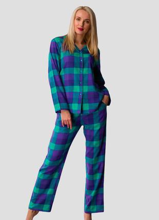 Женский домашний разноцветный фланелевый костюм из хлопка рубашка и штаны key lns 440 b21