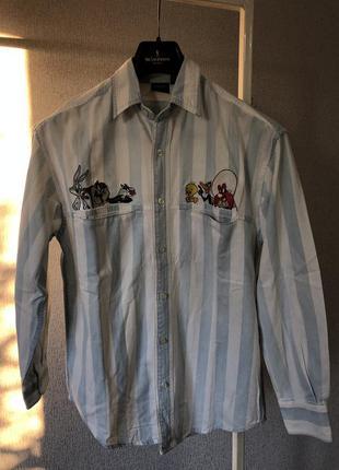 Винтажная рубашка 1996года хлопковая warner brother bros. looney tunes оригинал с вышивкой