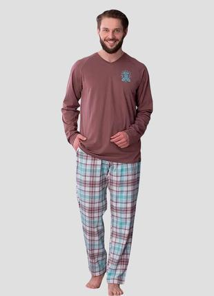Мужской хлопковый домашний фланелевый разноцветный костюм key mns 450 b21
