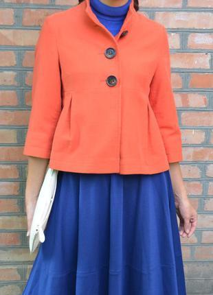 Короткое демисезонное пальто, полупальто трапеция, пиджак c рукавом 3\4, размер м