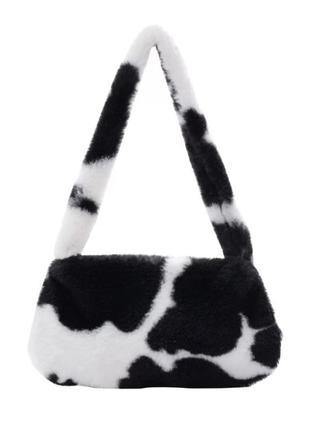 Милая сумка багет женская новая черная белая корова с принтом коровы плюшевая