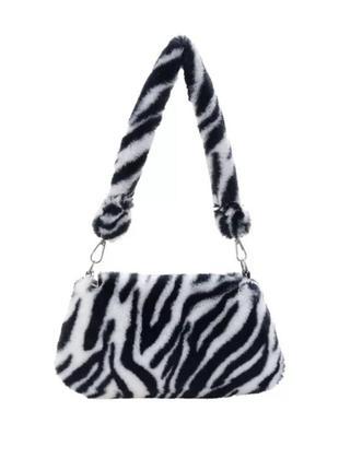 Милая сумка багет женская новая черная белая зебра плюшевая с короткой ручкой