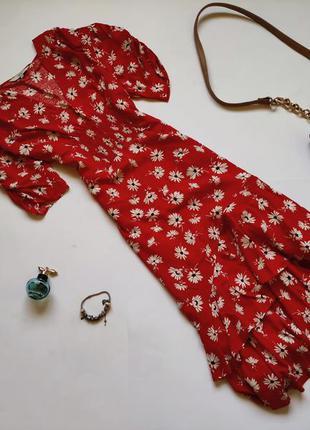 Красное платье миди next