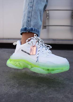 Женские кроссовки triple s clear sole neon green демисезонные топ качество