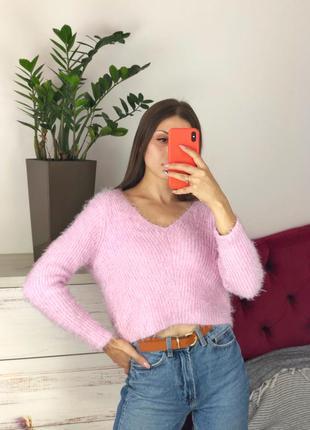 Розовый укороченный свитер травка 1+1=3