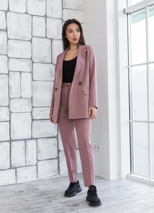 Костюм двойка женский белый, деловой нарядный, двубортный пиджак, брюки, 42, 44, 46, 48 хс, с, м, л