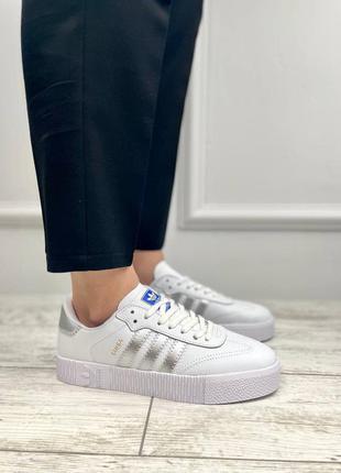 Кроссовки adidas samba white silver
