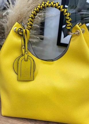 Шикарная ярко желтая сумка шопер, люкс качество.