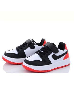 Детские черно-белые красные кроссовки для мальчика